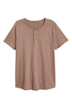 T-shirt with buttons - Light brown - Men | H&M CN 2